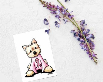 Pink Ribbon Cairn Terrier ORIGINAL Dog Art Drawing ACEO