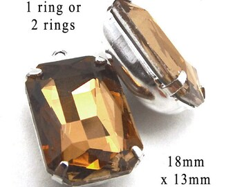 Golden Smoky Topaz Glass Beads, Silver Plated Brass Settings, Octagon, 18mm x 13mm, Rhinestone Jewels, Glass Gems, Cabochon, One Pair
