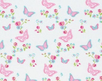 Butterfly Floral in WHITE with PINK.Blue  1/2 yard of PWTW118/ Zoey's Garden by Tanya  Whelan Fabric /Cotton Quilting Fabric
