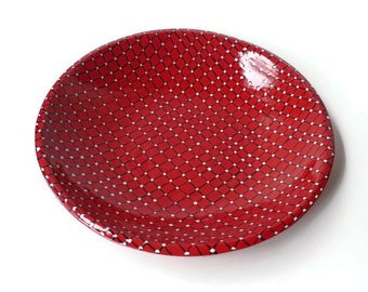 Medium Bright Red Bowl with Black and White Design