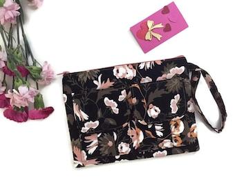 Black Wallet Wristlet Apricot & Persimmon, Handmade Floral Wristlet Wallet, Wristlet Purse, Black Fabric Wallet, Zipper Flower Wallet