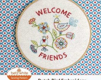 Dutch Bird Embroidery PDF pattern