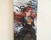 Ravens, Steampunk art, Victorian, cage skirt, art hanging, wall scroll, goth - by Meredith Dillman