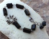 Black TOURMALINE Bracelet, Raw Tourmaline crystal bracelet, Schorl, black gemstone, handmade artisan jewelry, Angry Hair Jewelry
