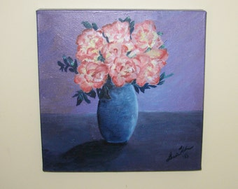 """Oil Painting Still Life Peace Roses in Blue Vase 12x12x1.5"""" Gallery Wrapped Canvas Original Art"""