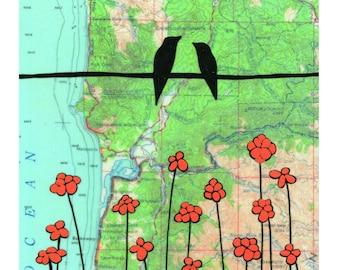 Oregon Coast Map Print // Love Birds // Bird Art // Modern Decor // NW Art // Oregon Art // Rachel Austin Art 11x14