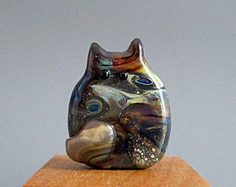 Handmade Lampwork Focal Cat Bead by teribeads - Willowby FatCat