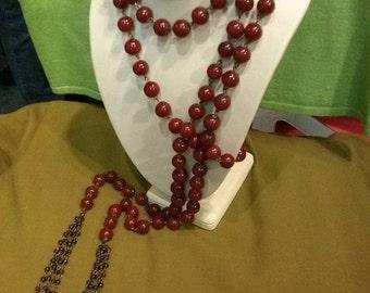 Vintage 1920s Necklace 20 Flapper Lariat Belt Oxblood Agate