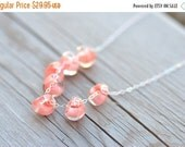 ON SALE Coral Glass Necklace Sterling Silver Borosilicate Teardrop Coral Jewelry Coral Ladies Spring Necklace Beach Necklace Jewelry Gift fo