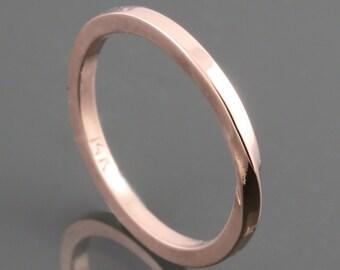 14 Karat Rose Gold Mobius Ring - Square Shank