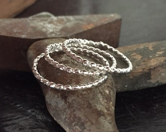 3 Stacking sterling silver bead bands - Beaded