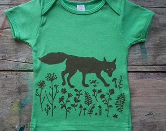 hand-printed organic cotton sneaky fox baby & toddler tee