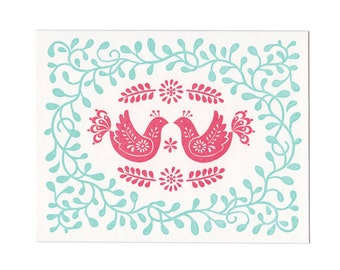 Red Birds letterpress greeting cards - set of five