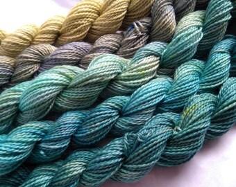 gradient yarn set - 125g (25g each skein) 440 yards total - hand-dyed merino fingering BEACH