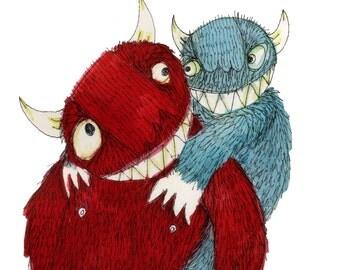 Square Greeting Card: Monster Piggy Back
