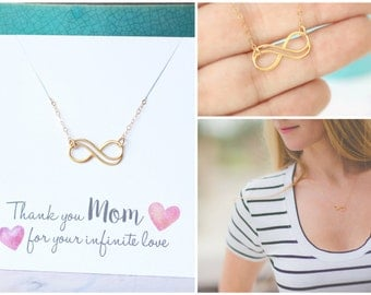Gold Infinity Necklace, Mom Gift, Mothers Necklace, Mother of the Bride Gift, Minimal Jewelry, Infinity Pendant, Wedding Gift for MOM