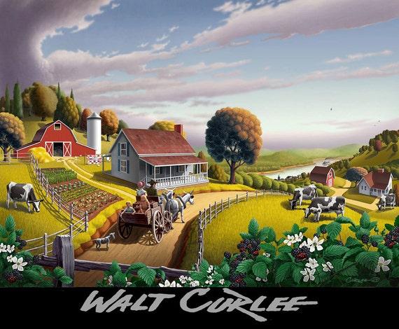 Blackberries Country Landscape, Farm Landscape, Blackberry Patch, Pennsylvania Amish, Giclee Canvas Print, Rural Americana, Folk Art