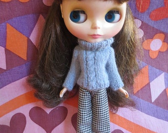 Handmade Blythe Sweater - Grey Cable Sweater and Trouser Set in Fluffy Angora Yarn