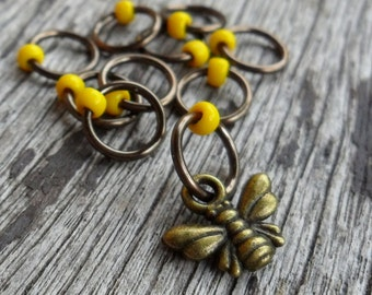 Small Snag Free Knitting Stitch Markers Antiqued Brass Tone Honey Bee Charm Yellow Seed Beads Fits Needles Up To 4.5mm