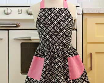Vintage Inspired Black and White Deco Tiles with PINK Full Apron for Little Girls