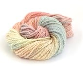 Handdyed pastel chunky yarn, bulky baby alpaca knitting crochet wool, Perran Yarns Unicorn Clouds, pale blue pink lemon yarn hank, uk seller