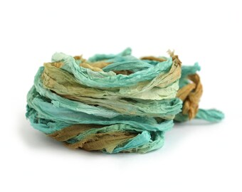 Recycled chiffon silk ribbon handdyed in Deep Forest, 10metre length, emerald green brown textile arts, jewellery making, bouquet wrap