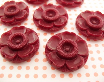 8 Vintage RED Plastic Flower Buttons 29mm