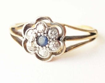 Art Deco Daisy Flower Setting Diamond Ring, 18k Gold Sapphire and Diamond Ring Approx. Size US 6.25
