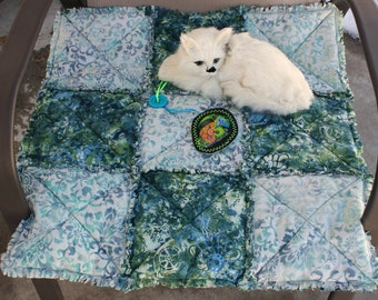 Cat Blanket, Cat Quilt, Cat Bed, Colorado Catnip Bed, Cat Accessories, Pet Bedding, Small Dog Blanket, Dog Bed, Teal Pet Bed, Travel Pet Bed