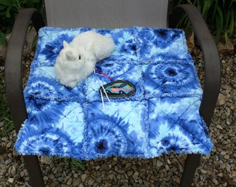 Cat Bed, Blue Cat Blanket, Blue Cat Quilt, Handmade Cat Bed, Small Dog Blanket, Colorado Catnip Blanket, Tie Dyed Cat Bed, Cat Bed With Toy