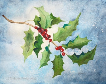 Holly ORIGINAL enchanted frosty winter berry 11x14 watercolor painting by Melanie Pruitt EBSQ