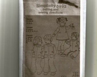 Simplicity Toddlers Blouse, Jumper and Overalls Pattern 5992