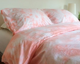 Pink Shibori Hand Dyed Duvet Cover and Pillow Cases in Peach Blossom, Anna Joyce, FULL / QUEEN, Portland Oregon