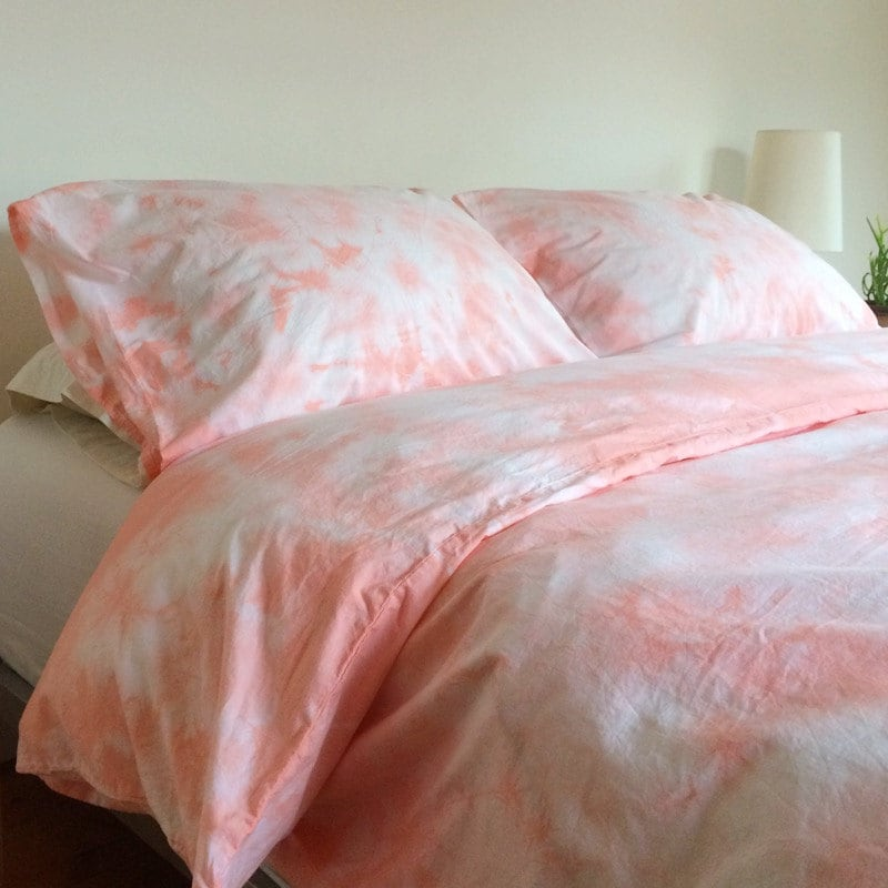 Pink Shibori Hand Dyed Duvet Cover And Pillow Cases In Peach