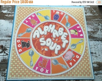 40% FLASH SALE- Vintage Game Board-Book Making-Supplies-Altered Art-Mixed Media-Alphabet Soup