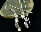 Sterling Dangle Earrings, Modern Art Earrings, Offset Rectangles, Recycled Ring Band Earrings