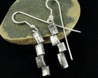 Sterling Dangle Earrings, Modern Art Earrings, Offset Rectangles, Recycled Ring Band Earrings