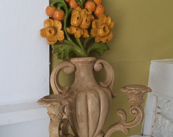 Homco Flower Candle Sconce / 1970s / Trailer Art Glamp / Resin
