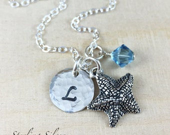 Personalized Jewelry - Starfish Charm Necklace - Sterling Silver Necklace With Hand Stamped Initial And Birthstone