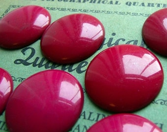 ON SALE Glossy vintage red lucite cabochons