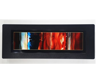 Contemporary Red-Orange, Blue & Black Painting - Handmade Abstract Metal Wall Accent - Original Modern Home Decor - JC 503F by Jon Allen