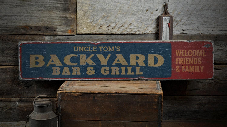 backyard bar u0026 grill wood sign custom name sign welcome