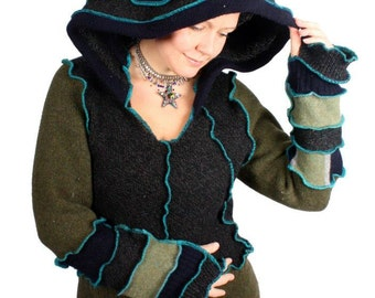Recycled Sweater Hoodie Pattern by Katwise