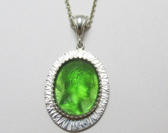 Romas Glass Cameo Green bezel set Sterling Silver Pendant