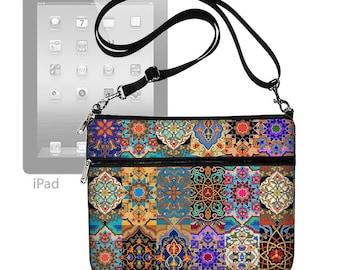 iPad Case with Shoulder Strap iPad Purse Crossbody Bag Fits Ipad 1-4 & Air 2 iPad Sleeve Colorful Asian Boho Patchwork Jewel Tones RTS
