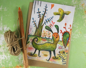 Unlikely Friends Recycled Greeting Card