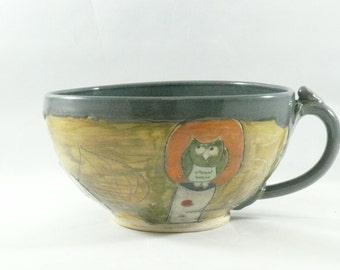 Latte mug -  large soup bowl with handle - teacup  in woodland design - handled bowl - cappucino cup - soup mug 355