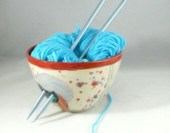 Large Ceramic Yarn Bowl with Owl Knitting Organizer, Artistic holder for yarn, Crochet Organizer - Wheelthrown Pottery Yarn Bowl YB78