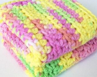 Cotton Crochet Dishcloth, Pink Green and Yellow Crochet Dishcloths, Cleaning Cloths, Ecofriendly, Reusable, Eco Friendly,Crochet Washcloth