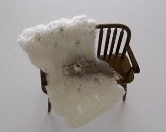 Miniature Blanket - White Miniature Crib Doll House Blanket/Afghan - One Twelfth Scale - White Blanket -